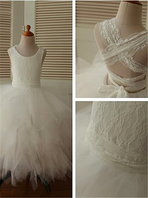 Ball Gown Sleeveless Organza Scoop Ankle-Length Flower Girl Dresses