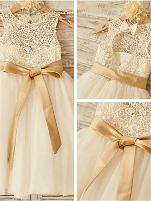 A-line/Princess Sleeveless Tulle Scoop Knee-Length Bowknot Flower Girl Dresses