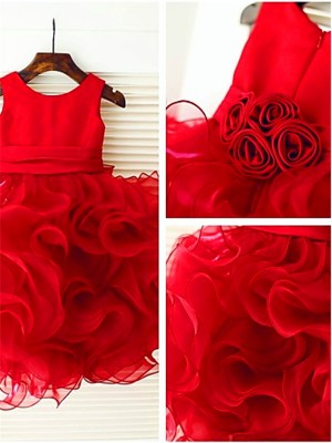 Ball Gown Sleeveless Organza Scoop Knee-Length Layers Flower Girl Dresses