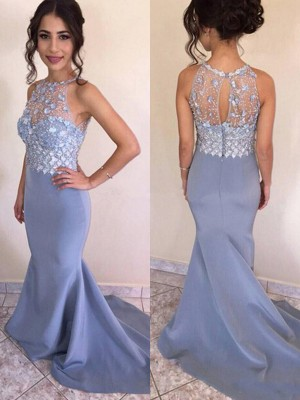 Trumpet/Mermaid Jewel Sleeveless Crystal Sweep/Brush Train Satin Dresses