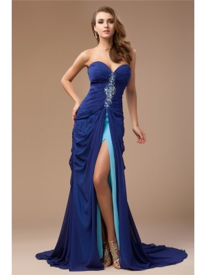 Sheath/Column Sweetheart Sweep/Brush Train Beading Sleeveless Chiffon Dresses