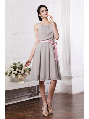 Sheath/Column Scoop Knee-Length Sash/Ribbon/Belt Sleeveless Chiffon Bridesmaid Dresses