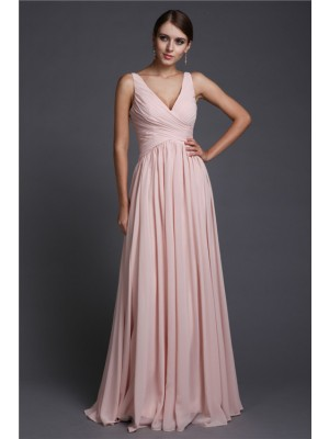 A-Line/Princess V-neck Floor-Length Ruffles Sleeveless Chiffon Bridesmaid Dresses
