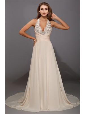 Sheath/Column V-neck Sweep/Brush Train Beading Sleeveless Chiffon Dresses