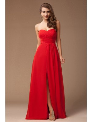 Sheath/Column Sweetheart Floor-Length Ruffles Sleeveless Chiffon Bridesmaid Dresses
