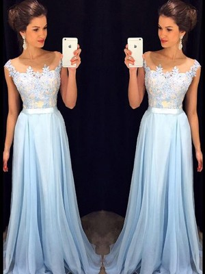 A-Line/Princess Sleeveless Chiffon Sheer Neck Applique Sweep/Brush Train Dresses