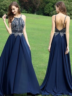 A-Line/Princess Sleeveless Beading Halter Floor-Length Chiffon Dresses