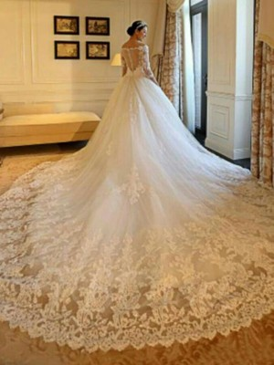 Ball Gown 3/4 Sleeves Off-the-Shoulder Tulle Cathedral Train Beading Wedding Dresses