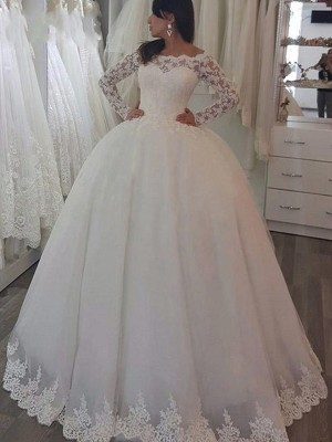 Ball Gown Long Sleeves Off-the-Shoulder Lace Sweep/Brush Train Applique Wedding Dresses