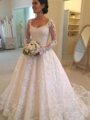Ball Gown Long Sleeves Scoop Lace Cathedral Train Ruffles Wedding Dresses