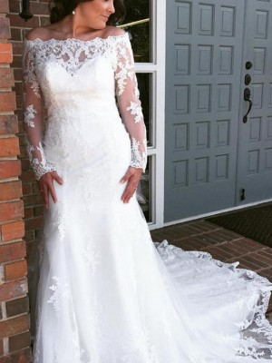 Trumpet/Mermaid Long Sleeves Off-the-Shoulder Tulle Cathedral Train Applique Wedding Dresses