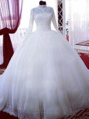 Ball Gown Long Sleeves High Neck Tulle Chapel Train Wedding Dresses