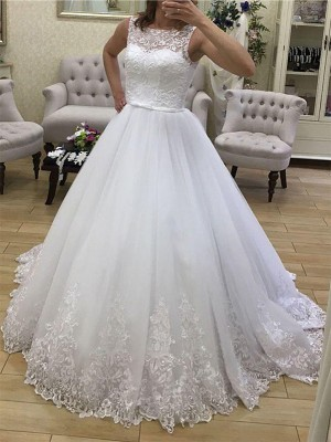 Ball Gown Sleeveless Scoop Tulle Court Train Applique Wedding Dresses