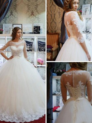 Ball Gown 1/2 Sleeves Scoop Tulle Floor-Length Applique Wedding Dresses