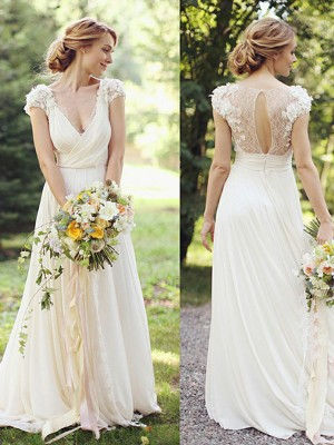 A-Line/Princess Short Sleeves V-neck Chiffon Sweep/Brush Train Ruched Wedding Dresses
