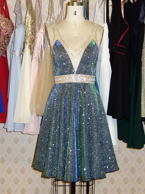 A-Line/Princess Short/Mini V-neck Beading Sleeveless Sequins Cocktail Party Dresses