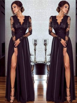 A-Line/Princess Floor-Length V-neck Aqqlique Long Sleeves Chiffon Dresses