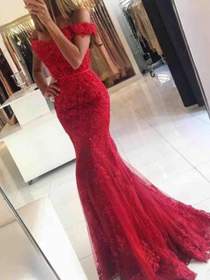 Trumpet/Mermaid Sweep/Brush Train Off-the-Shoulder Applique Sleeveless Tulle Dresses