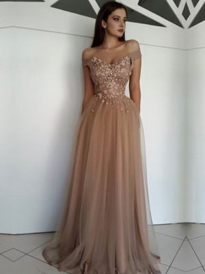 A-Line/Princess Floor-Length Off-the-Shoulder Applique Sleeveless Tulle Dresses