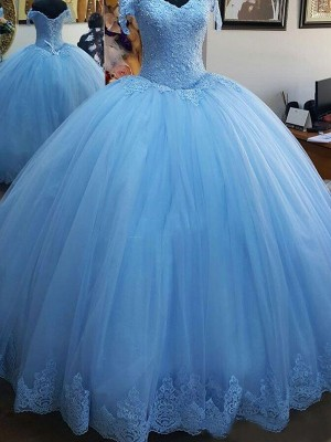Ball Gown Sweep/Brush Train Off-the-Shoulder Sleeveless Tulle Dresses