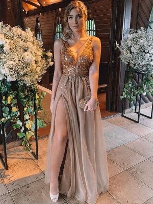 A-Line/Princess V-neck Sleeveless Rhinestone Tulle Floor-Length Dresses