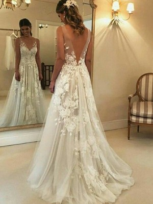 A-Line/Princess V-neck Sleeveless Applique Tulle Sweep/Brush Train Wedding Dresses