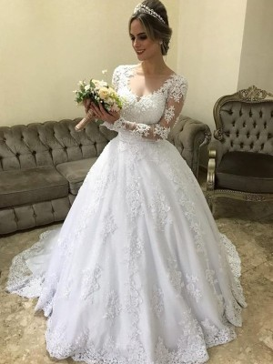 Ball Gown V-neck Long Sleeves Applique Satin Sweep/Brush Train Wedding Dresses