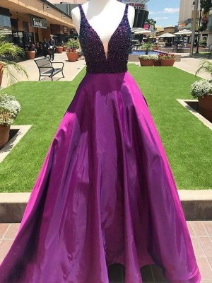 A-Line/Princess V-neck Sleeveless Beading Satin Floor-Length Dresses