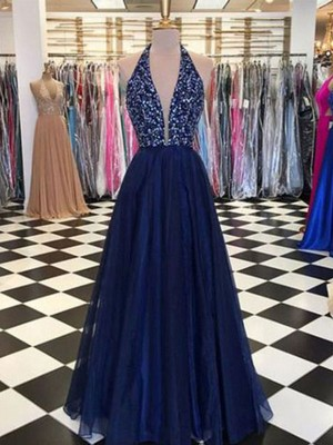 A-Line/Princess Halter Sleeveless Beading Tulle Floor-Length Dresses