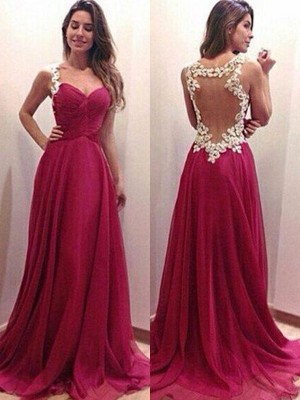 A-Line/Princess Sweetheart Sleeveless Applique Chiffon Sweep/Brush Train Dresses