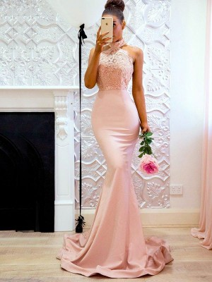 Trumpet/Mermaid Halter Sleeveless Satin Sweep/Brush Train Dresses