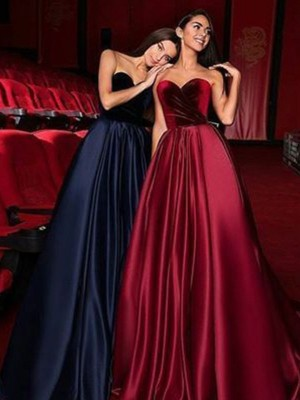 A-Line/Princess Sweetheart Sleeveless Ruffles Satin Court Train Dresses