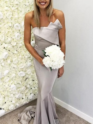 Trumpet/Mermaid Sleeveless Sweep/Brush Train Ruffles Satin Strapless Bridesmaid Dresses