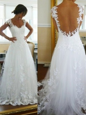 A-Line/Princess Sleeveless Lace V-neck Sweep/Brush Train Tulle Wedding Dresses