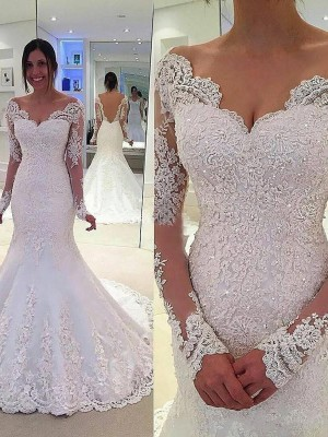 Trumpet/Mermaid Long Sleeves Lace V-neck Court Train Tulle Wedding Dresses