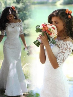 Trumpet/Mermaid 1/2 Sleeves Lace Off-the-Shoulder Sweep/Brush Train Lace Wedding Dresses