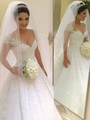 Ball Gown Sleeveless Beading V-neck Floor-Length Tulle Wedding Dresses