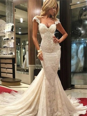 Trumpet/Mermaid Sleeveless Lace V-neck Chapel Lace Wedding Dresses