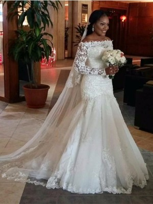 Trumpet/Mermaid Long Sleeves Lace Off-the-Shoulder Sweep/Brush Train Tulle Wedding Dresses