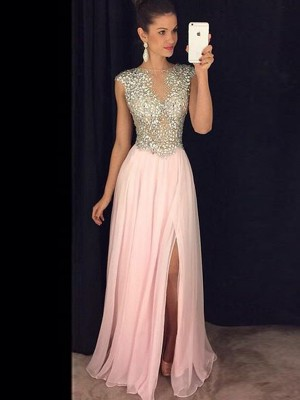 A-Line/Princess Sleeveless Sequin Bateau Floor-Length Chiffon Dresses