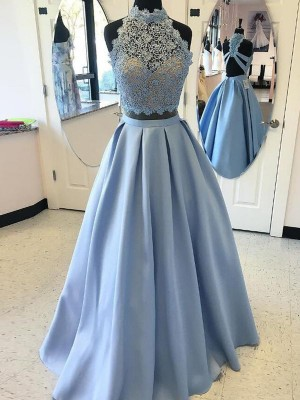 Ball Gown Sleeveless Applique High Neck Floor-Length Satin Dresses