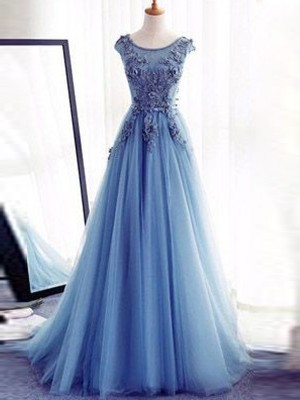 Ball Gown Sleeveless Applique Jewel Sweep/Brush Train Tulle Dresses