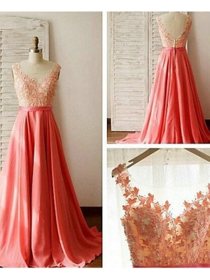 A-Line/Princess Sleeveless Lace Sweetheart Sweep/Brush Train Chiffon Bridesmaid Dresses
