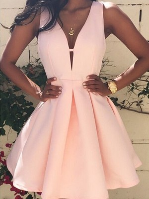 A-line/Princess Sleeveless V-neck Short/Mini Satin Cocktail Party Dresses