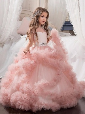 Ball Gown Jewel Floor-Length Crystal Short Sleeves Tulle Flower Girl Dresses