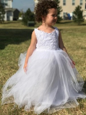 Ball Gown Jewel Floor-Length Sleeveless Tulle Flower Girl Dresses