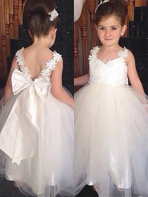Ball Gown Sweetheart Floor-Length Bowknot Sleeveless Tulle Flower Girl Dresses