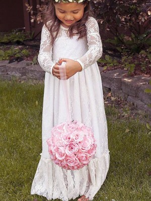 A-Line/Princess Jewel Floor-Length Bowknot Long Sleeves Lace Flower Girl Dresses