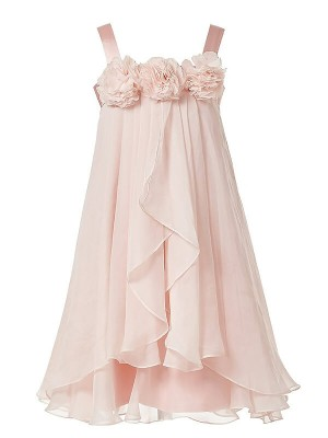 A-Line/Princess Straps Tea-Length Hand-Made Flower Sleeveless Chiffon Flower Girl Dresses