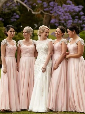 A-Line/Princess Short Sleeves Chiffon Square Beading Floor-Length Bridesmaid Dresses